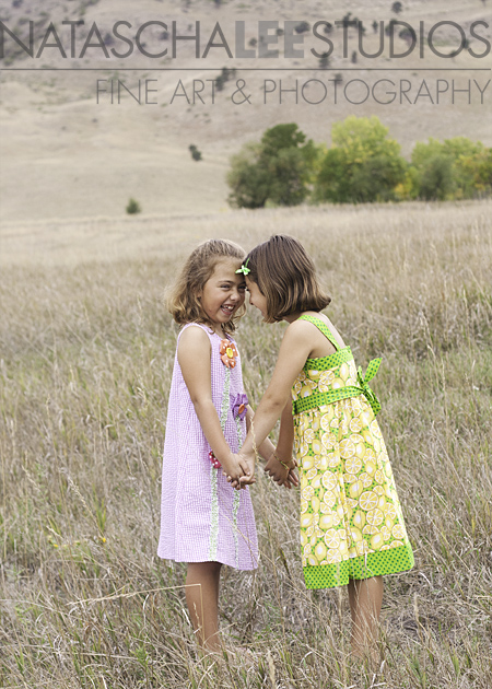 Twin Sisters in a Field by Natascha Lee Studios, Westminster, Colorado Kid's Photographer