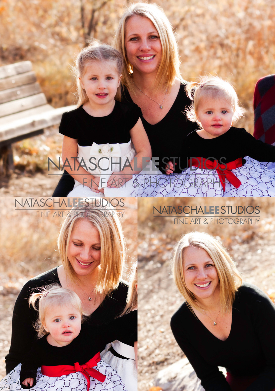 Mother and Daughters Holiday Portraits - Vibrant, Natural, Outdoors by Natascha Lee Studios