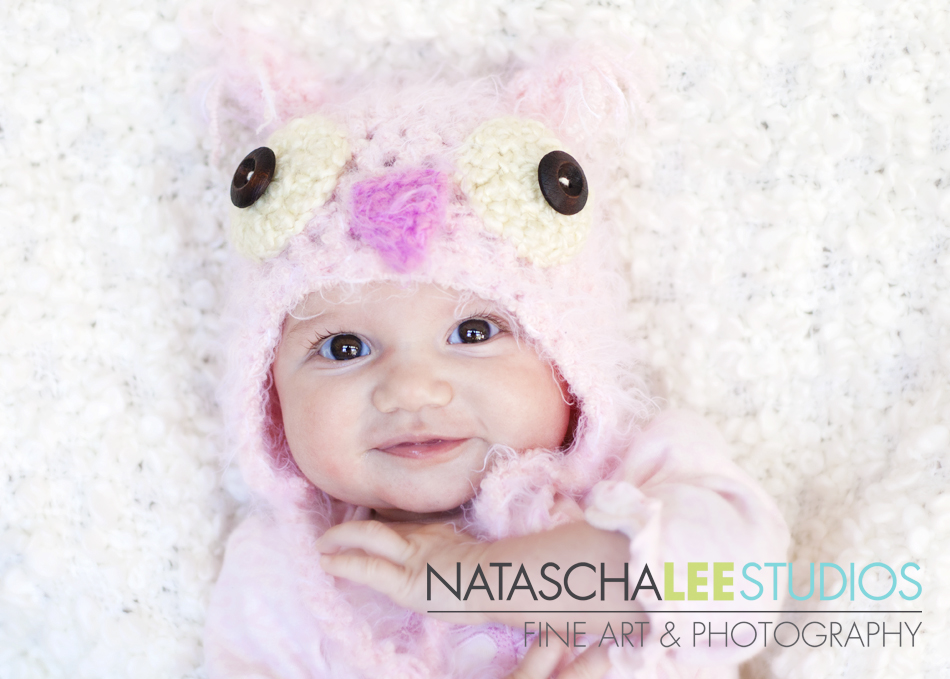Broomfield, Colorado Baby Photography by Natascha Lee Studios , Baby girl with Pink Esty Crochet Owl Hat by Zaneybaby
