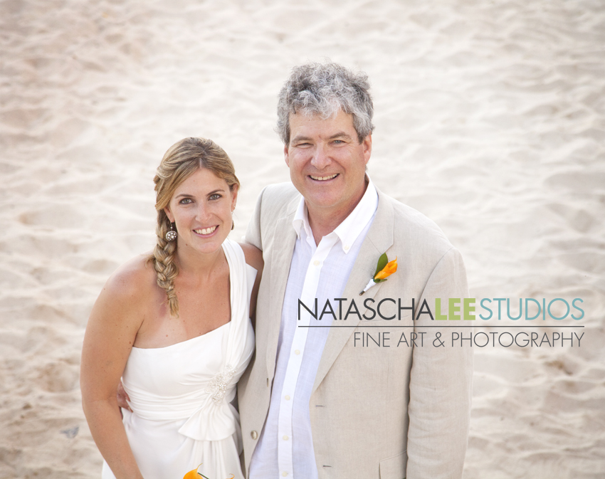 Mexico Beach Wedding Photography by Natascha Lee Studios : Father and Daughter, the Bride