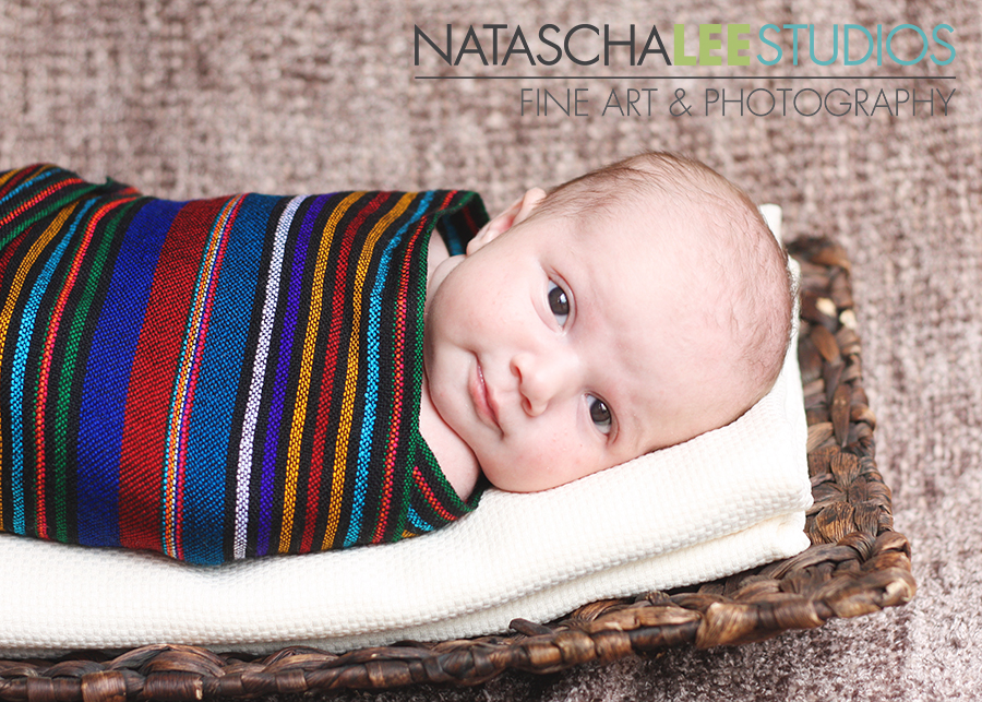 Baby wrapped in scarf on basket - Greenwood Village Baby Photography