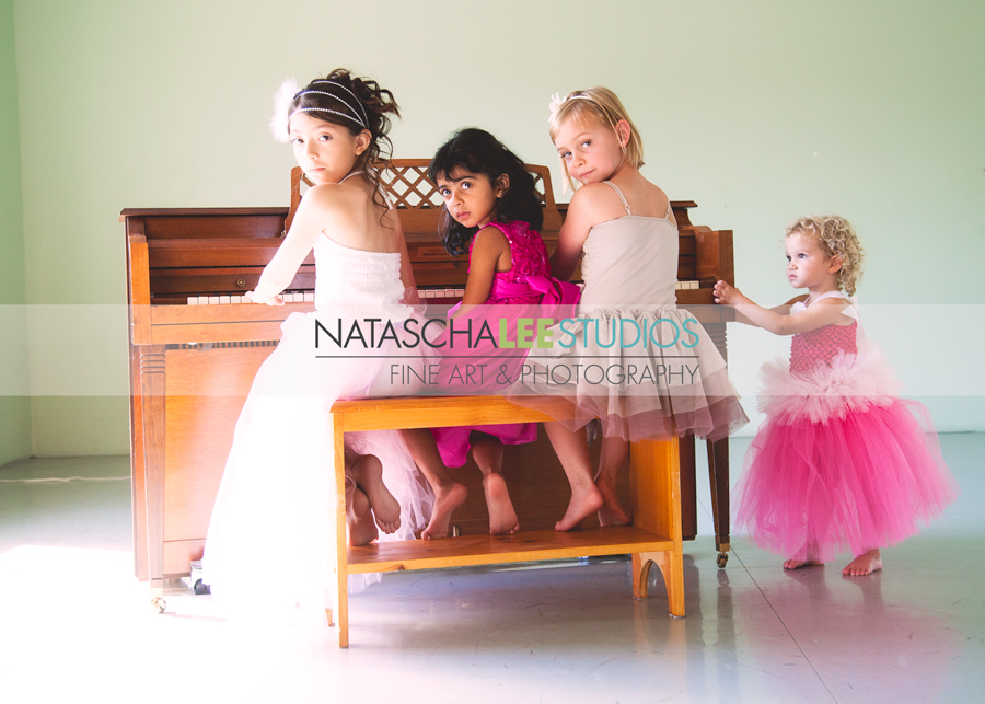 Broomfield Colorado Ballet Girl Dancer Photography - Four girls @ the piano by Natascha Lee Studios