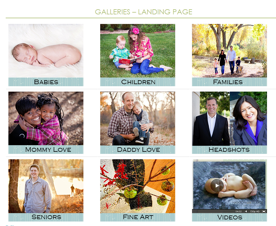 Broomfield Colorado Family Portraits new Gallery Landing Page Screenshot - Local Photographer