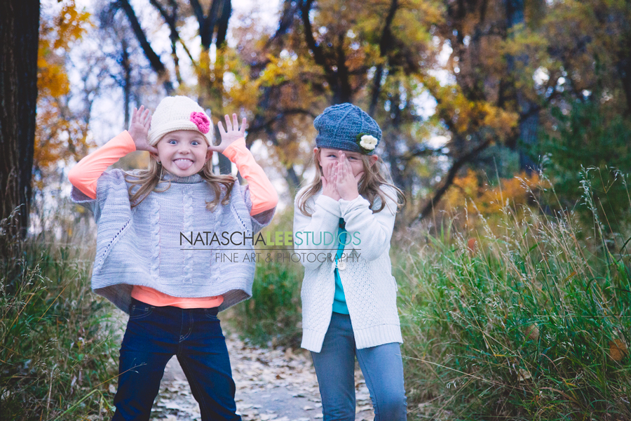 Broomfield Family Portraits - sisters - Fall - Children's fine Portraiture - Silly - Fun