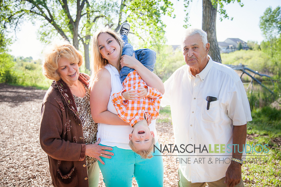 3 generation (Grandma, Grandmpa, Mom, Baby Boy) Portrait in Westminster Colorado Great Nature Location Outdoors