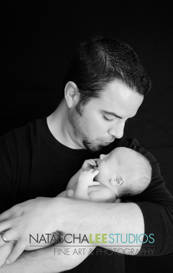 Happy Father's Day - Newborn Twin Fine Portraiture in Black and White