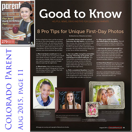 Colorado Parent Magazine – Top Tips for Unique First Day Back To School Photos of your Children
