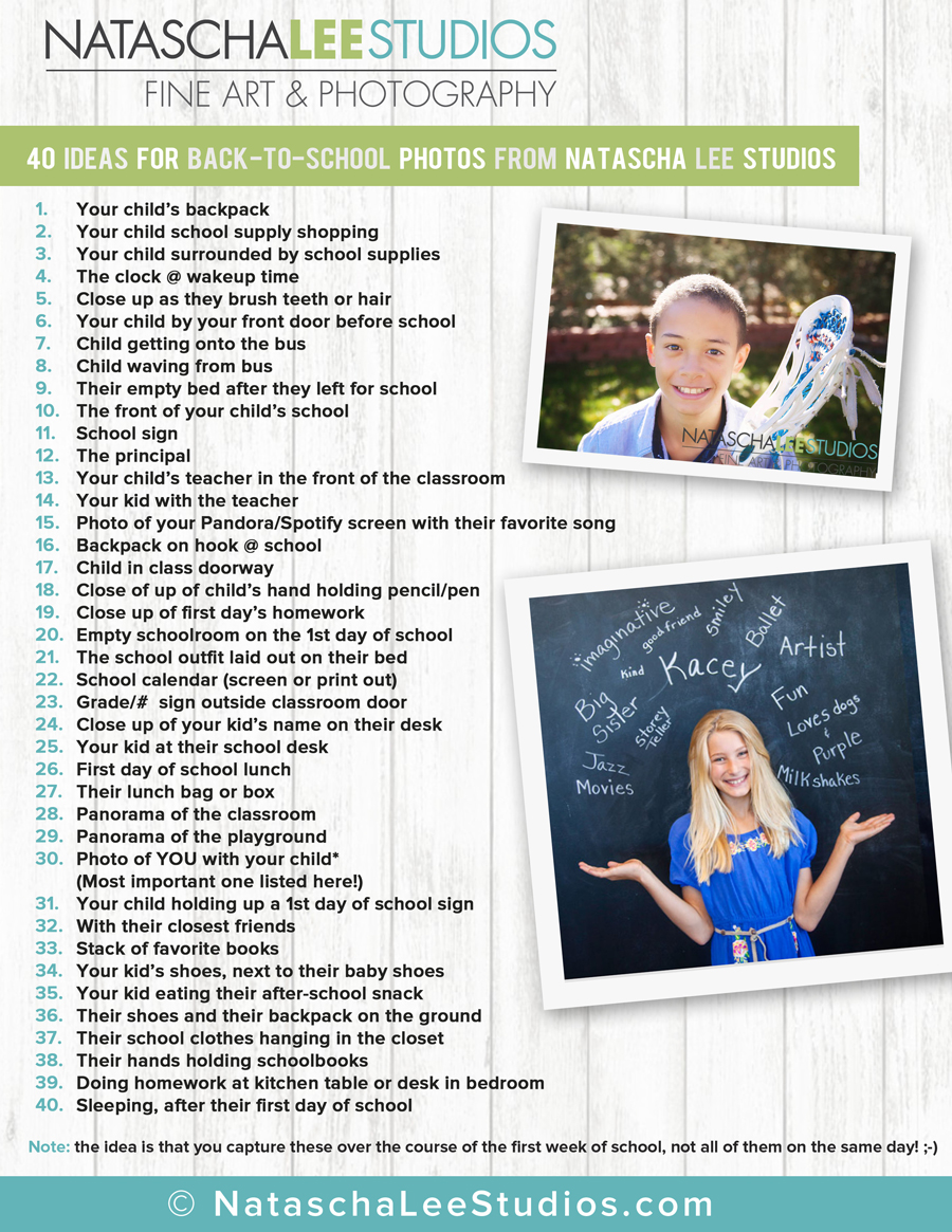 40 Ideas for Unique Back To School Photos of your Children (Free Printable)