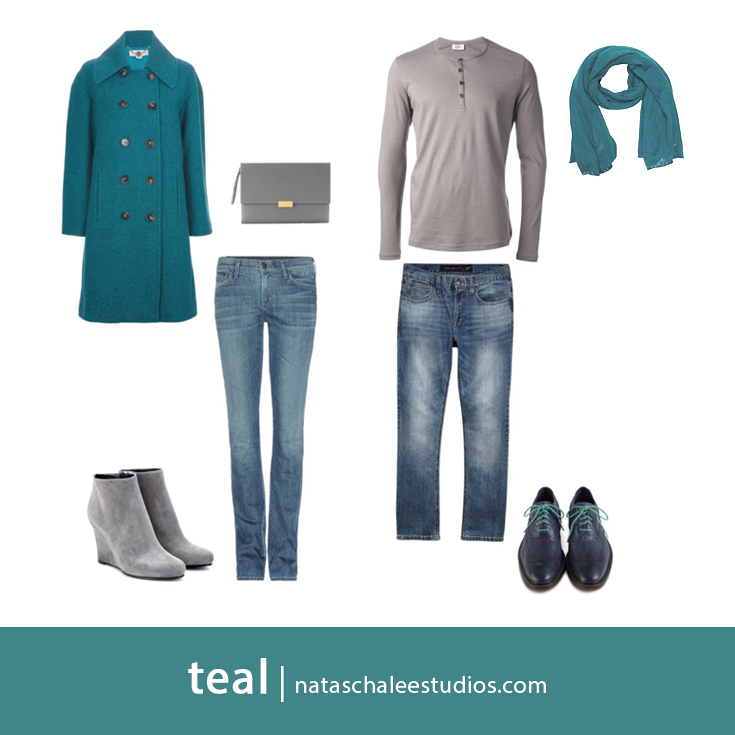 What to Wear for Winter Family Portraits : Teal